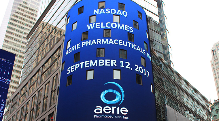 Nasdaq tower on listing day of Aerie Pharmaceuticals